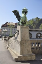 Bronze Statue Of A Dragon On T...