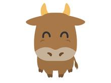 牛のキャラクターのイラスト