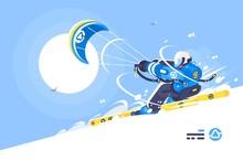 Sporty Boy Snowkiter On Alpine...