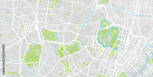 Photo  Urban vector city map of Tokyo centre, Japan