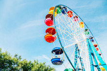 Colorful Ferris Wheel At Amusement Park In Vladivostok, Russia