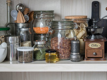 Shelf In The Kitchen With Vari...