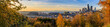 Panorama of Seattle downtown skyline sunset view in the fall from Dr. Jose Rizal Park