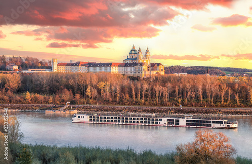 Panorama of Melk abbey with Danube river and autumn forest Canvas Print