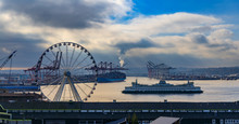 Seattle Waterfront At Sunset W...