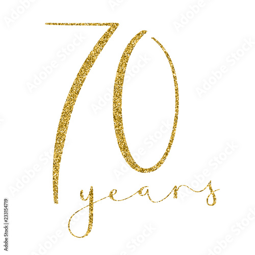 Fotografie, Obraz 70 YEARS gold glitter brush calligraphy icon
