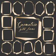 Set Of Geometric Gold Frame, Decorative Element For Wedding Card, Invitations And Logo. Vector Illustration.