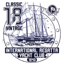 Label With Ship Vector
