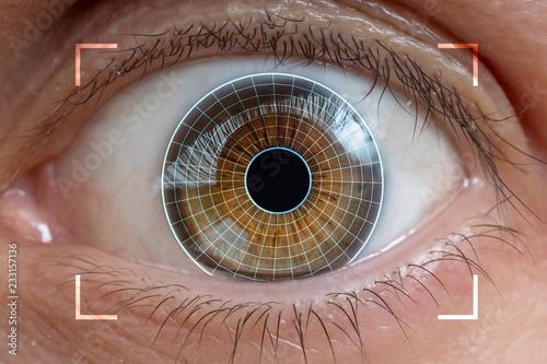 Photo sur Aluminium Iris Biometrics, eye scanning and recognition concept.