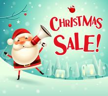 Christmas Sale! Santa Claus With Megaphone In Christmas Snow Scene Winter Landscape.