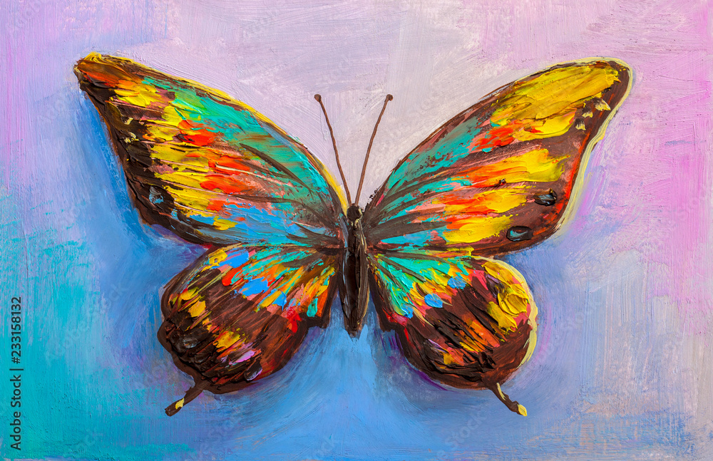 Fototapeta abstract painting butterfly
