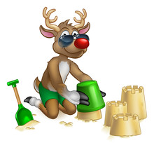An Illustration Of Santa S Christmas Reindeer In Shades Or Sunglasses And Shorts Having Fun On The Beach