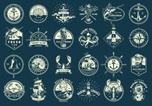 Vintage Monochrome Maritime Emblems Set