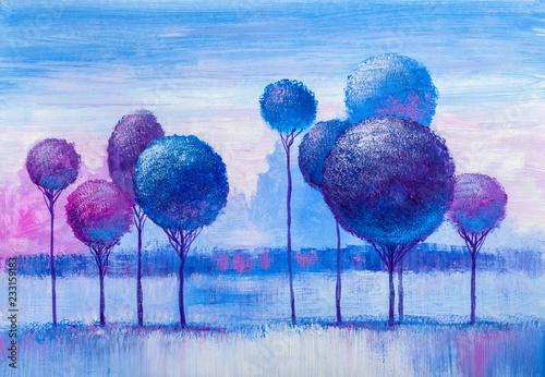 Trees, oil painting, artist...