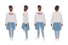 African American Guy Dressed In Casual Clothes. Stylish Young Man, Street Style Look. Male Cartoon Character Isolated On White Background. Front, Side And Back Views. Flat Vector Illustration.