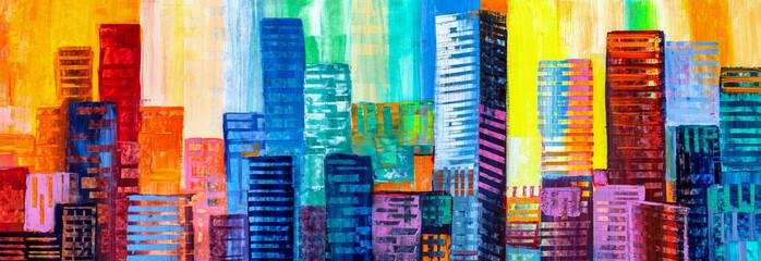 Panel Szklany Podświetlane Do biura Abstract painting of urban skyscrapers.