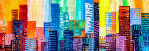 Abstract painting of urban skyscrapers. - 233161102