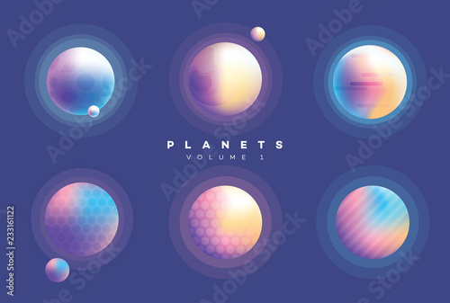 Futuristic abstract planets collection in vibrant colors Wallpaper Mural