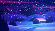 Christmas Night Landscape With...