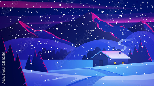 Christmas Night landscape with mountains and a lonely hut. Christmas eve Landscape. Сozy house in winter forest. Vector of winter landscape.