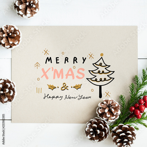 Merry Xmas and Happy New Year card mockup