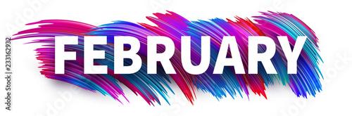 Fototapeta February sign or banner with colorful brush stroke design on white. obraz na płótnie