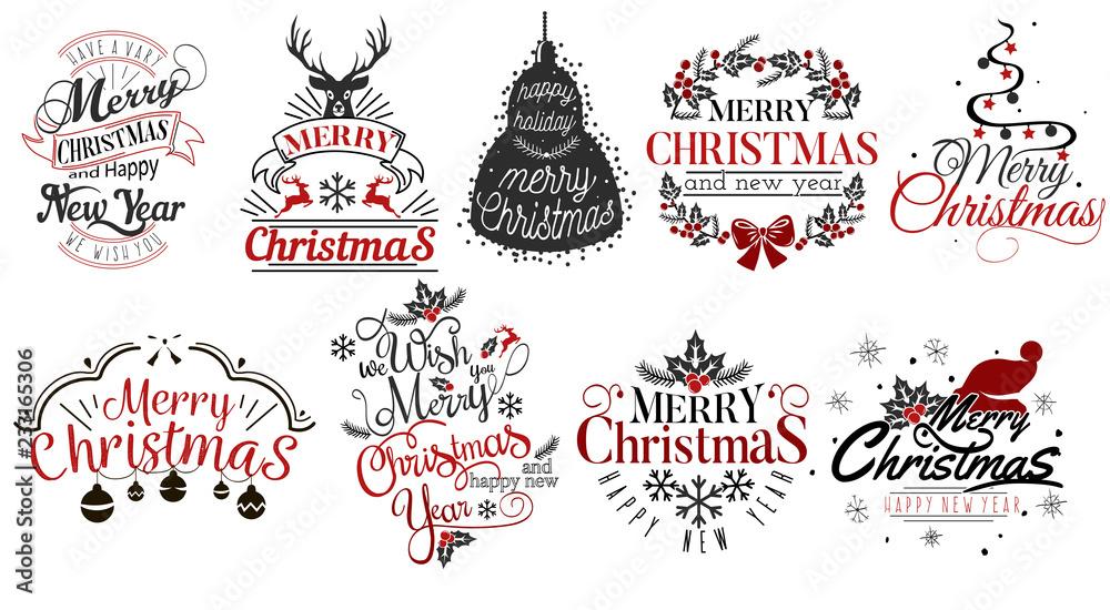 Fototapety, obrazy: Merry Christmas and Happy New Year logo set