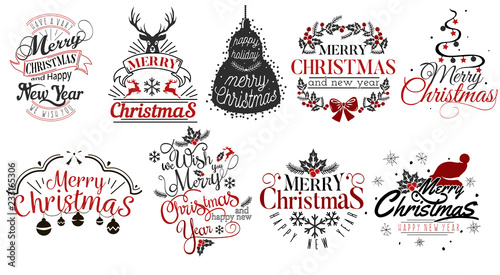 Cuadros en Lienzo Merry Christmas and Happy New Year logo set