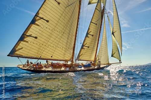 Sports team of yachtsmen is fighting to win the regatta