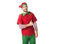 Smiling Man In Christmas Elf C...