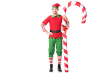 Smiling Man In Christmas Elf C...