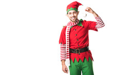 Man In Christmas Elf Costume H...