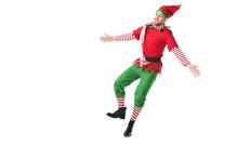 Cheerful Man In Christmas Elf ...