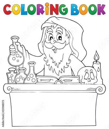 Staande foto Voor kinderen Coloring book alchemist topic 1
