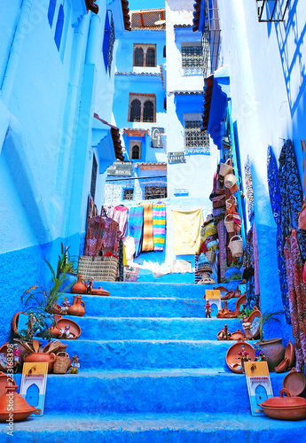 Spoed Foto op Canvas Marokko Traditional moroccan architectural details in Chefchaouen Morocco, Africa. Chefchaouen blue city in Morocco.
