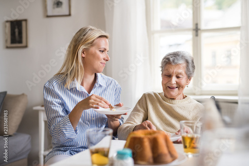 Leinwand Poster Senior woman in wheelchair with a health visitor sitting at the table at home, eating