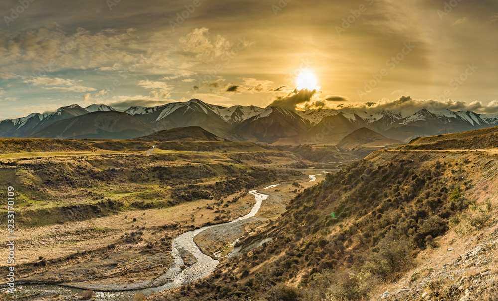 Fototapety, obrazy: Cave Stream Scenic Reserve during sunset, South Island, New Zealand
