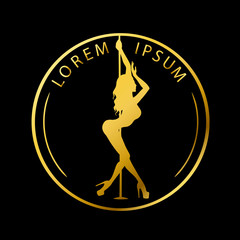 Gold logo for Dance studio, Pole dance, stripper club. Silhouette pole dance on a black background. Pole dance exotic vector illustration. Vector illustration for logotype, icon, banner