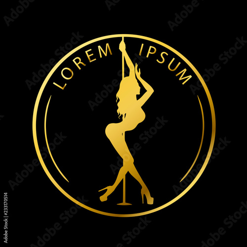 Gold logo for Dance studio, Pole dance, stripper club. Silhouette pole dance on a black background. Pole dance exotic vector illustration. Vector illustration for logotype, icon, banner - fototapety na wymiar