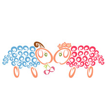 A Blue Ram Treats A Pink Sheep Cherries In The Shape Of A Heart
