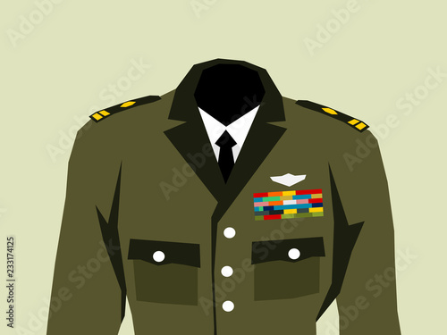 Military uniform with high officer rank insignia - elegant khaki clothes and hierarchy in the army Fototapeta