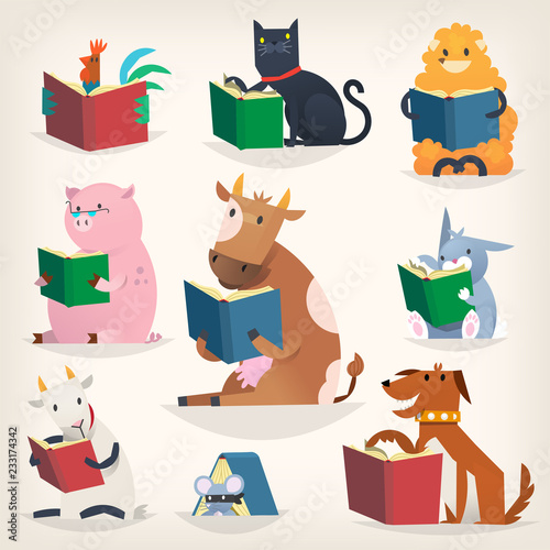 Spoed Fotobehang Illustraties Animals reading books with stories and translating other languages. Trying to understand others.