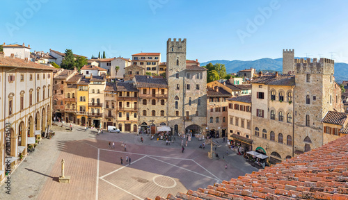 Panoramic aerial view of Piazza Grande square in Arezzo, Tuscany, Italy Canvas Print