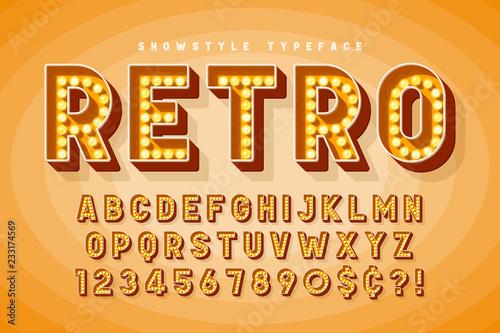 Retro cinema font design, cabaret, Broadway letters Wallpaper Mural