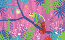 Colorful Pink Illustration With Chameleon Lizard Sitting On A Branch In Tropical Jungle. Surrounded By Imaginary Plants