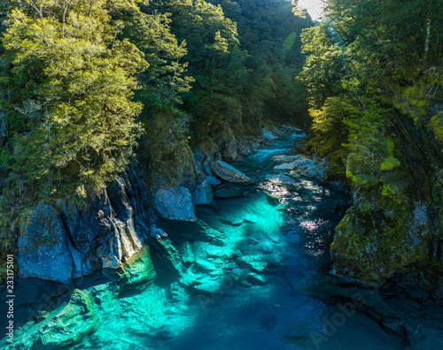 Poster de jardin Bleu nuit Famous attraction - Blue Pools, Haast Pass, New Zealand, South Island