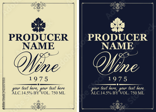 Fotografia Set of two vector wine labels with vine leaves and calligraphic inscriptions in