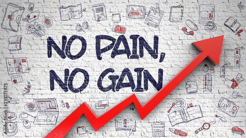 Obraz na płótnie No Pain, No Gain - Drawn on White Brickwall. 3d