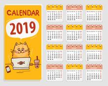 Vector Calendar 2019 With Cute...