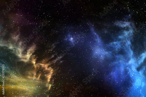 Foto Night sky with stars and nebula